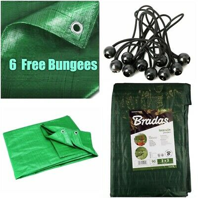 Strong Green Tarpaulin Army Waterproof Camping Ground Sheet - 6 Free Bungees!!