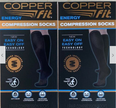 Copper Fit 2 Pair Easy On Easy Off Energy Compression Socks, black, Size variety