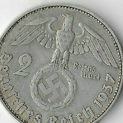 Rare SILVER 1937 Germany Great War WWII Eagle HAMBURG German Collection Coin WW2