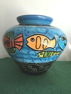 hand painted and designed handmade signed designer vase with hand painted fish