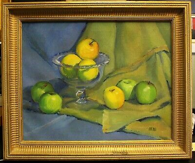 Luscious Apples Still Life Painting Signed Arno After Cezanne Post Impressionist