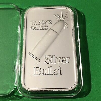 Silver Bullet Collectible Bar 1 Troy Oz .999 Fine Pure Silver Ag Ingot Medal 999