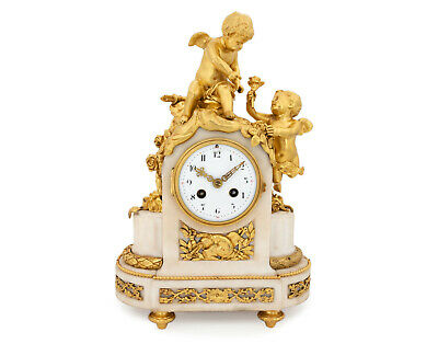 French Napoleon III ormolu clock, pendulette, putti Cupid signed Vincenti & Cie