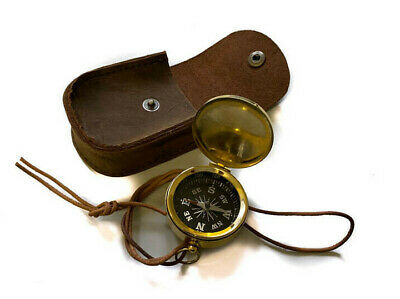 Traditional Nautical Compass Marine Pocket Antique Compass & Leather Case