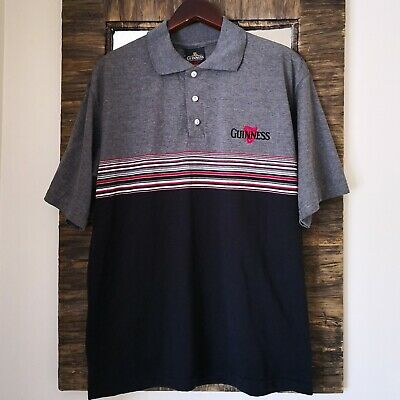 Guinness Mens Polo Shirt Official Merchandise Relaxed Fit Size M Grey / Black