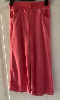 Next Pink Velvet Style Wide Legged Girls Tracksuit Trousers Age 7