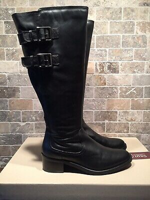 Ladies/Girls CLARKS Black Leather Knee High Boots - Size 5.5 E Width
