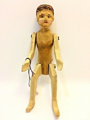 dollhouse miniature Folk Art hand carved wood wooden figure jointed man OOAK