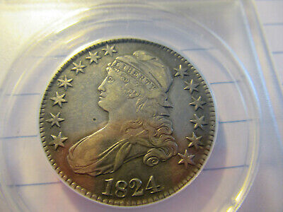 1824 Capped Bust Half Dollar -(CLEANED) Circulated