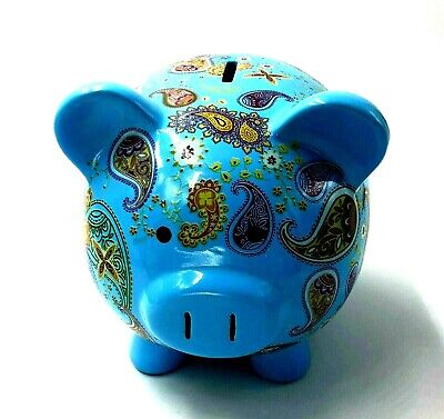 Vintage Blue Painted Ceramic Piggy Coin Bank Paisley Look New Stopper