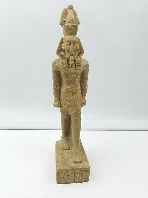 Rare Antique Ancient Egyptian Statue King Ramses uniify Crown Stone statue 10""