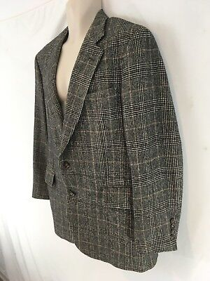 Jos Bank Mens 38 R Black Houndstooth Plaid 100% Camel Hair 2 Btn Blazer Jacket