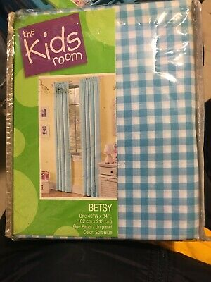 BETSY THE KIDS ROOM SOFT BLUE CHECK VALANCE CURTAIN
