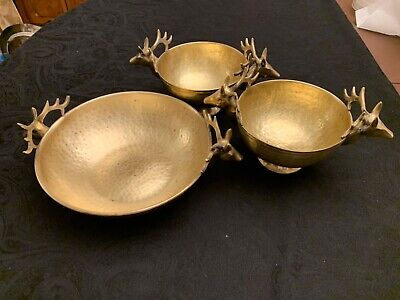 Vintage brass set of bowls with deer heads