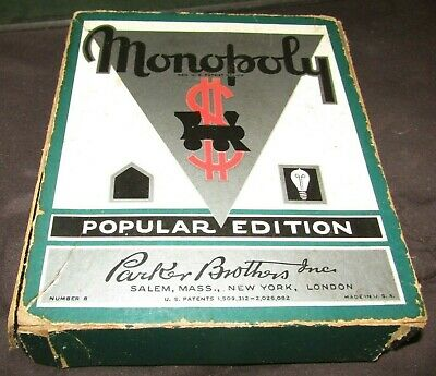 Nice 1935 Popular Edition No.8 Monopoly Game-Complete With Green Board-Look !!