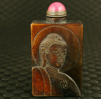 Chinese old yak horn hand caved Buddha fortune tree statue snuff bottle collect