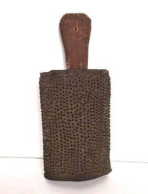 Antique 19th Century Tin and Wood Grater Original Red Paint AAFA