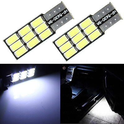 2x HID White W5W 501 T10 Canbus Car 9 LED 5630 SMD Wedge Side Number Bulb    2