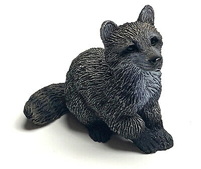 Raccoon Mini Figurine Statue Hand Painted Resin Living Stone 2 inches