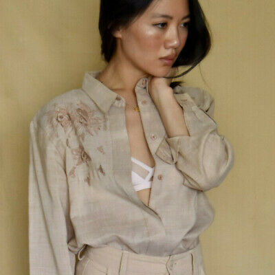 Womens 80s 90s Vintage embroidered tan shirt size M