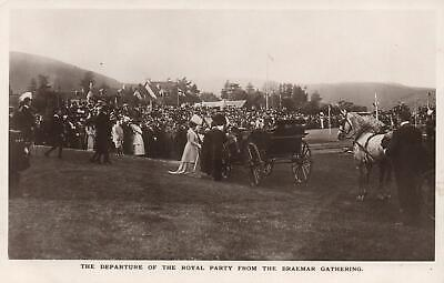 THE DEPARTURE of the ROYAL PARTY from the BRAEMAR GATHERING REAL PHOTO POSTCARD