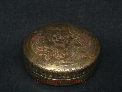 Rare Collection Ancient Chinese Copper Hand Carving Phoenix Ink or Box Jewel Box
