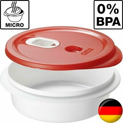 BPA-Frei Rotho Micro Clever Mikrowellengeschirr 1 L Rot//Weiss Kunststoff