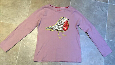 Mini Boden Girls Pink Sequin Robin Print Top, Age 8-9 Years