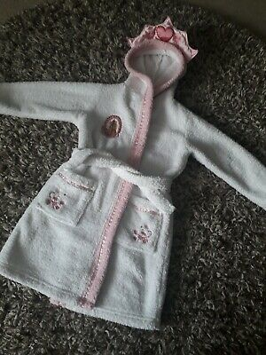 Girls Age 4-5 Years Dressing Gown House Coat White Enchanted Princess Giselle