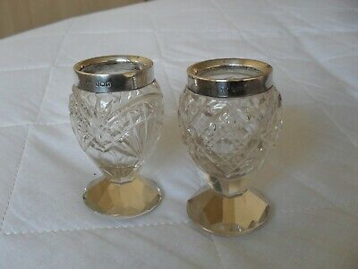 2 similar solid silver and cut glass match holders hallmarked London 1916