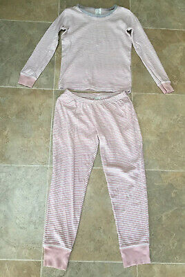Mini Boden Girls Pink & White Striped Long Sleeved Pyjama Set, Age 8 Years