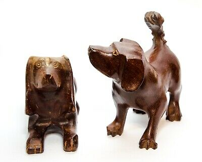Pair of Wood Hand-carved Dog Figurine Med Size Vintage