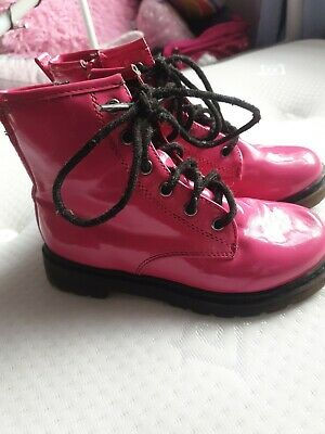 Girls Dr Marten Style Pink Boots. Size 10
