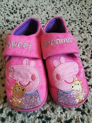 Girls Pink Peppa Pig Slippers - Size 12/13