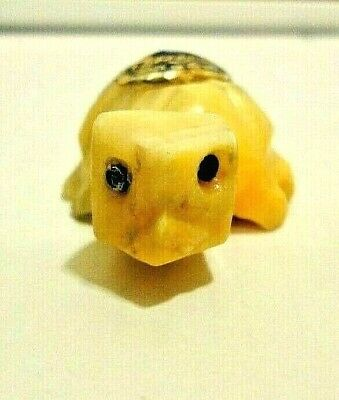 """Vintage Onyx Turtle Figurine Shades Of Beige Made In Mexico 2"""" Long Collectible"""