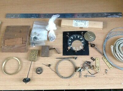 Antique Clock Parts Cord Wires Screws Bits Bobs Ex Clockmakers Spares Collection