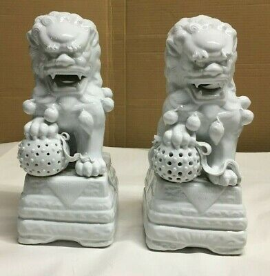 Vintage Pair Chinese Blanc De Chine White Porcelain Shi Shi/Foo Dogs/Lions