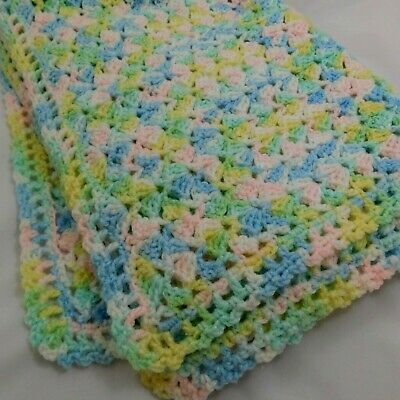 """Hand Knit Baby Afghan Blanket 50"""" x 63"""" Pastel Pink Blue Green White Yellow"""