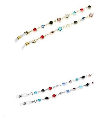 Sunglasses Eye Glass Chain Holder Necklace Rainbow Colour Stone dg-t0609-2c -No1