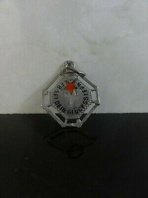 Antique Austrian Design 800 Silver Enamel This Be Your Lucky Star Charm Pendant