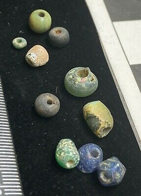 Authentic Ancient Lake Ladoga VIKING Artifact > Lot of 10 Necklace beads  VW1-H