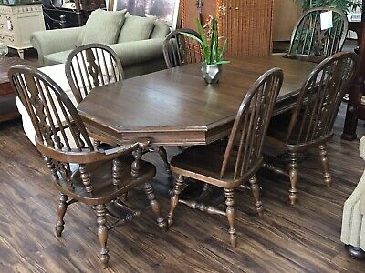 Ethan Allen Royal Charter Oak Bowback Windsor Table W/ Set of 6 Chairs 16 6000