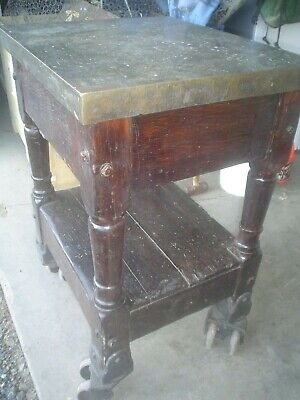 Antique Industrial TABLE - Printer's Table with brass top