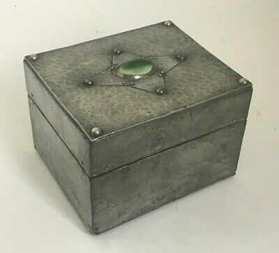 Antique Handmade Arts & Crafts Pewter & Ruskin Topped Playing Card Box - c.1910