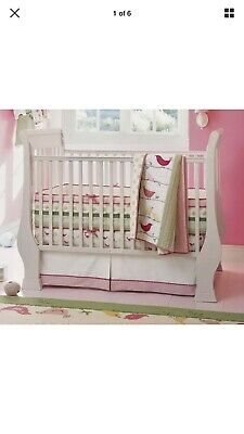 Pottery Barn Penelope Crib Bedding Set - Pink/Green, 5 Pieces
