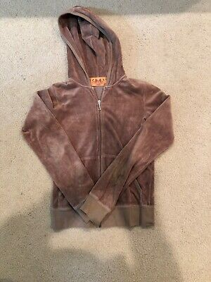 Girls JUICY COUTURE Velour Light Brown Front Zip Lightweight Hoodie Size Small