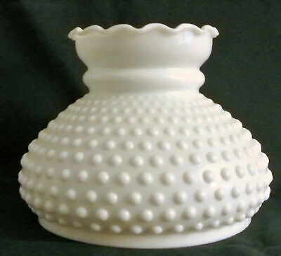 "7"" Fitter Crimp Top Hobnail White Opal Milk Glass Student Shade Oil Lamp Rayo"