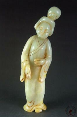 Antique Old Chinese Celadon Nephrite Jade Carved Statue Tang Dynasty Lady