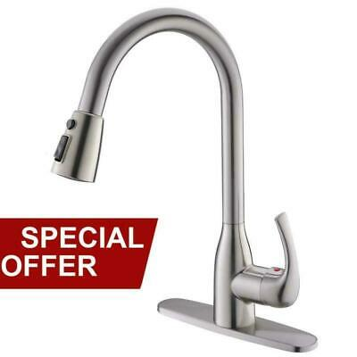 RESSORTIR 3-Hole Single Handle Brushed Nickel Pull Down & Sprayer Kitchen Faucet