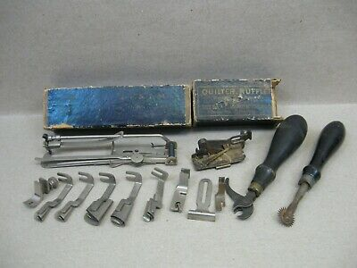 Antique 1883 Singer Fiddle Head Treadle Sewing Machine Attachments Tools Boxes